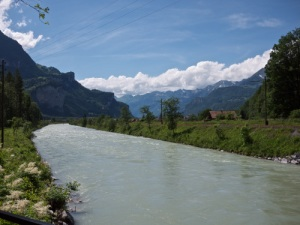View of the Aare river west of the gorge