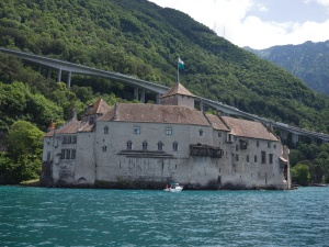 Approaching Château de Chillon by boat