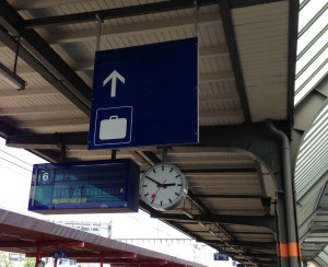 To find the baggage office in any rail station, look for the blue signs with a white suitcase symbol and follow the arrows