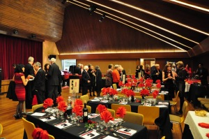 Guests mingle prior to the start of the 2013 Valentine's Cabaret at the Salle Communale, Cologny