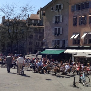 Old Town's charming Place Bourg-de-Four is a hub of activity no matter the season