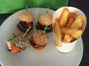The burger sampler and a portion of frites from Denise's Art of Burger