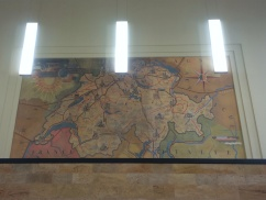 Restored mural paintings in the main hall