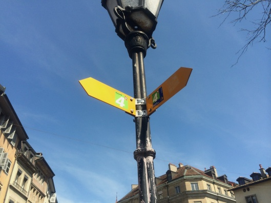 End point of this segment of the Via Jacobi: Place du Bourg-de-Four in Geneva's Old Town