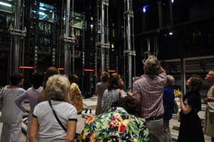 Our group studies the hydraulic hoists which raise and lower parts of the central stage. Photo courtesy of Fay R