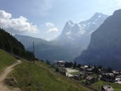 Looking down on Mürren from the hiking trails