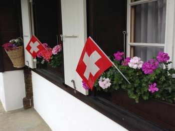 Colorful window boxes in Mürren