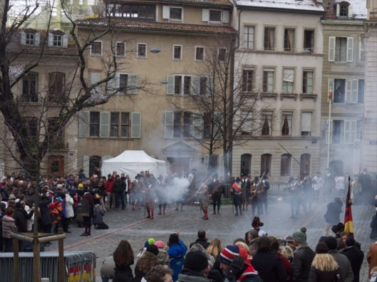 Muskets firing in front of St. Peter's Cathedral