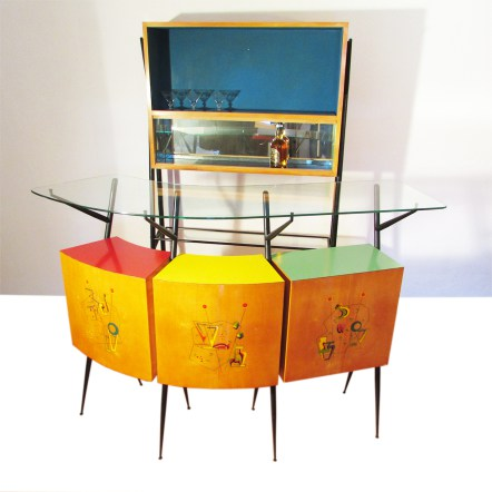 vintage cocktail-bar-ponti-italian 1950